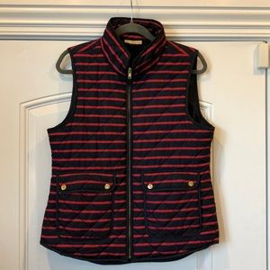 Kenar Womens Navy Blue And Red Striped Vest